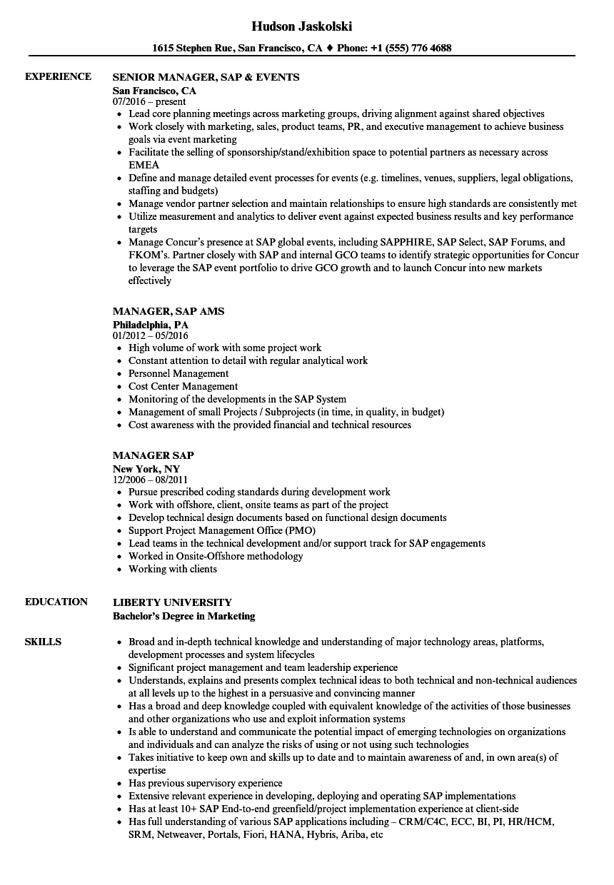 manager  sap resume samples