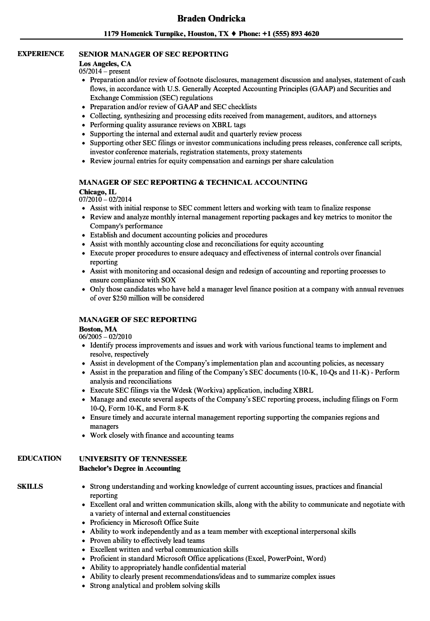 Manager, SEC Reporting Resume Samples | Velvet Jobs