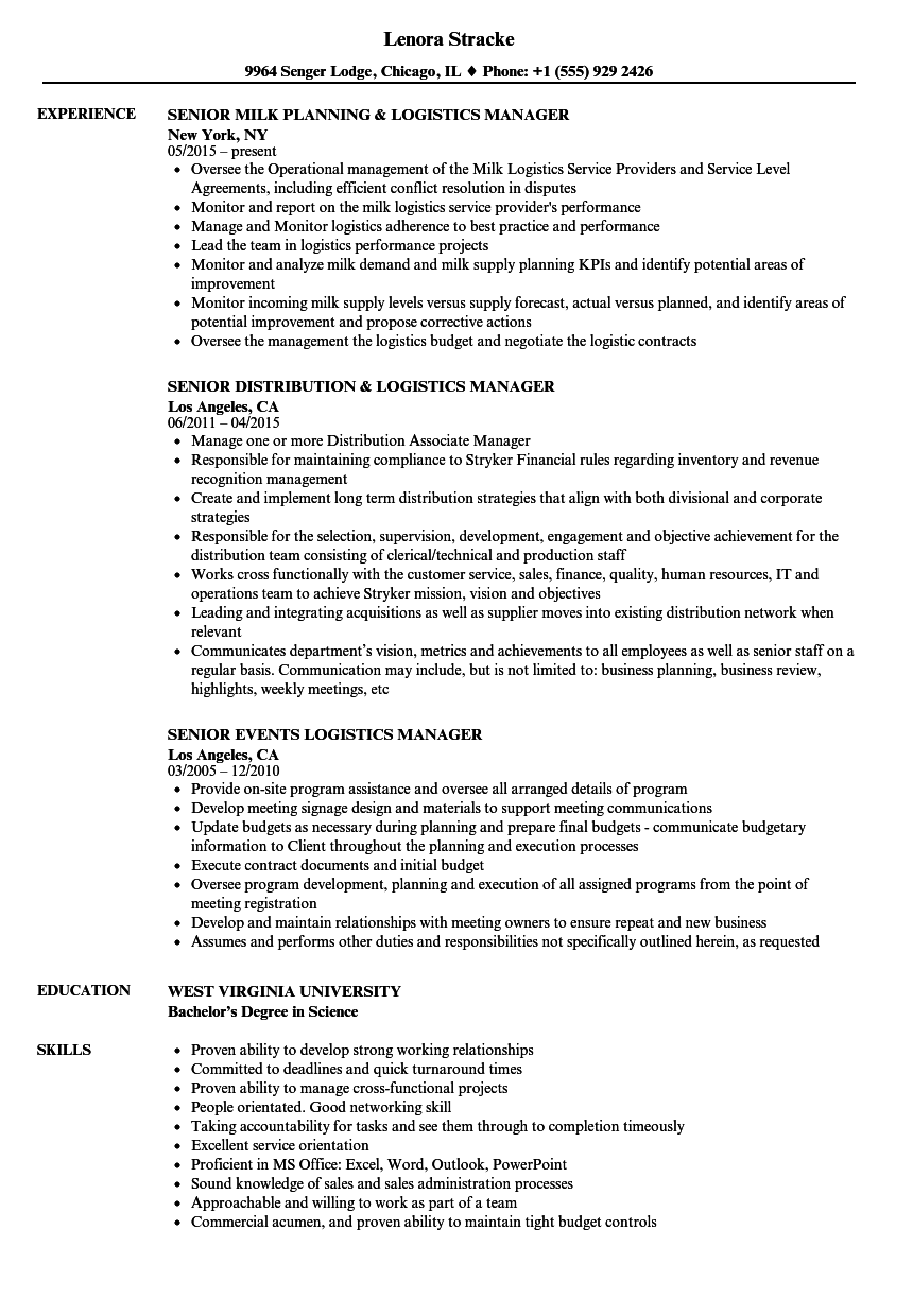 Manager Senior Logistics Resume Samples | Velvet Jobs