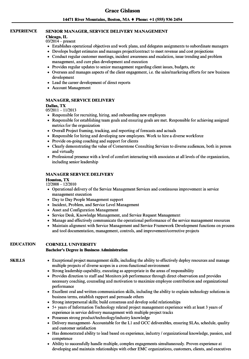 manager  service delivery resume samples