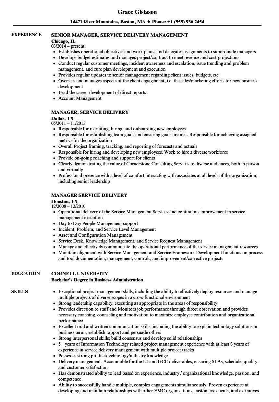 Manager, Service Delivery Resume Samples | Velvet Jobs