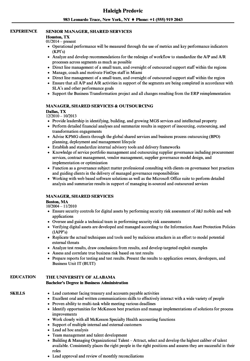 manager  shared services resume samples