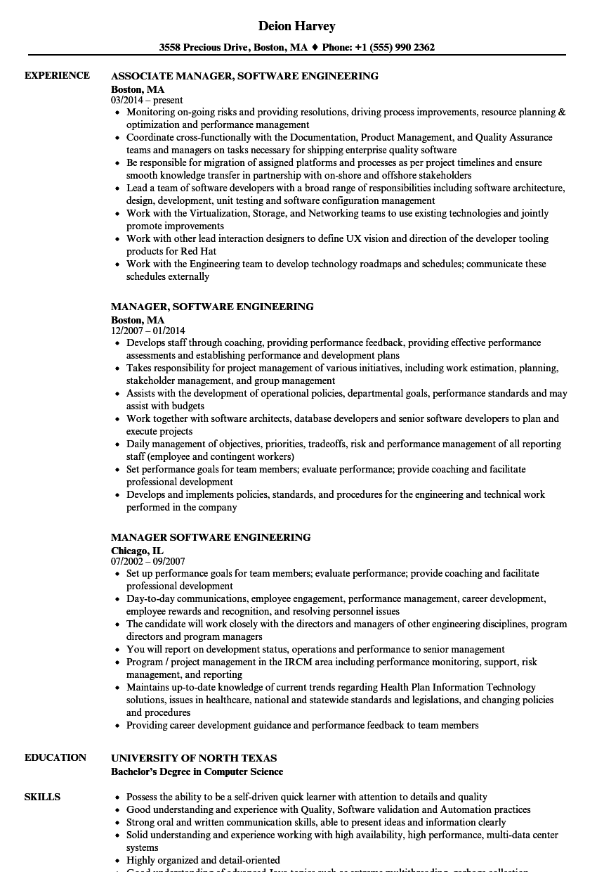 manager software engineering resume samples