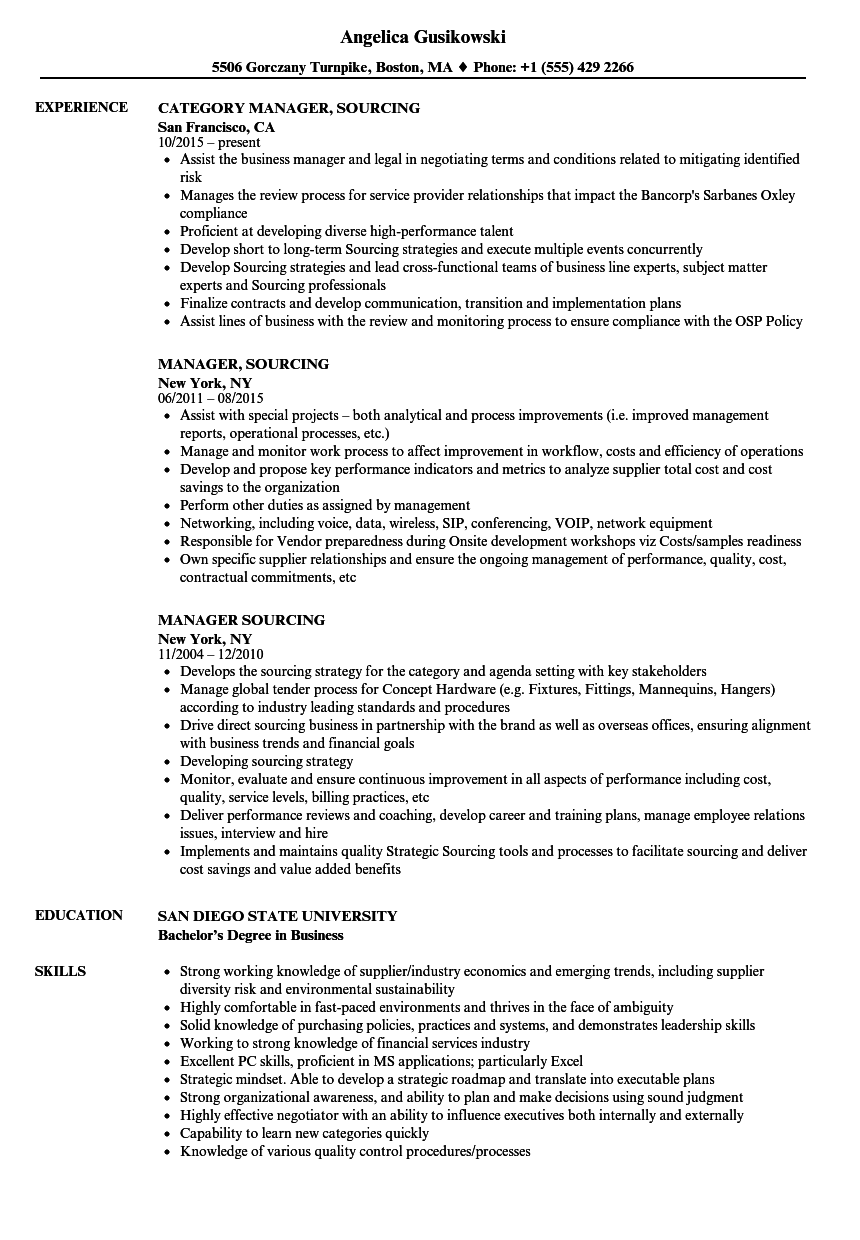 manager  sourcing resume samples