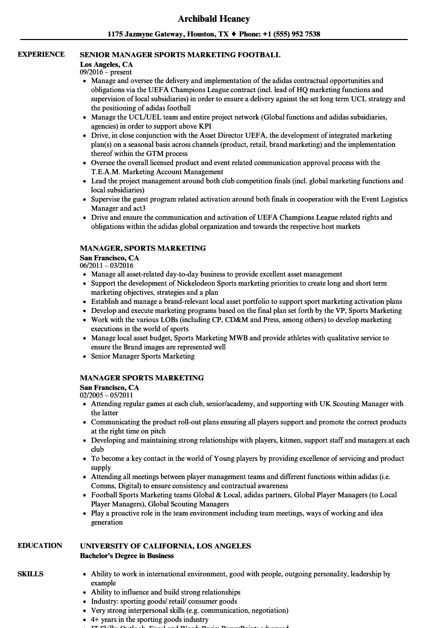 Manager, Sports Marketing Resume Samples | Velvet Jobs