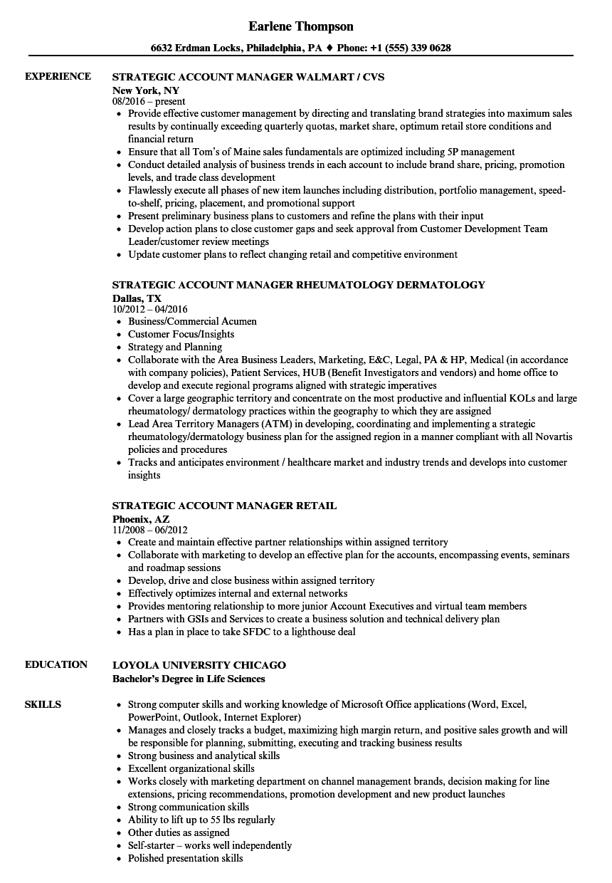 Manager Strategic Account Resume Samples Velvet Jobs Manager Strategic  Account Resume Sample Manager Strategic Account Resume