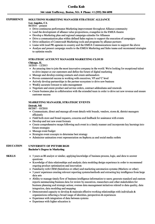 manager strategic marketing resume samples