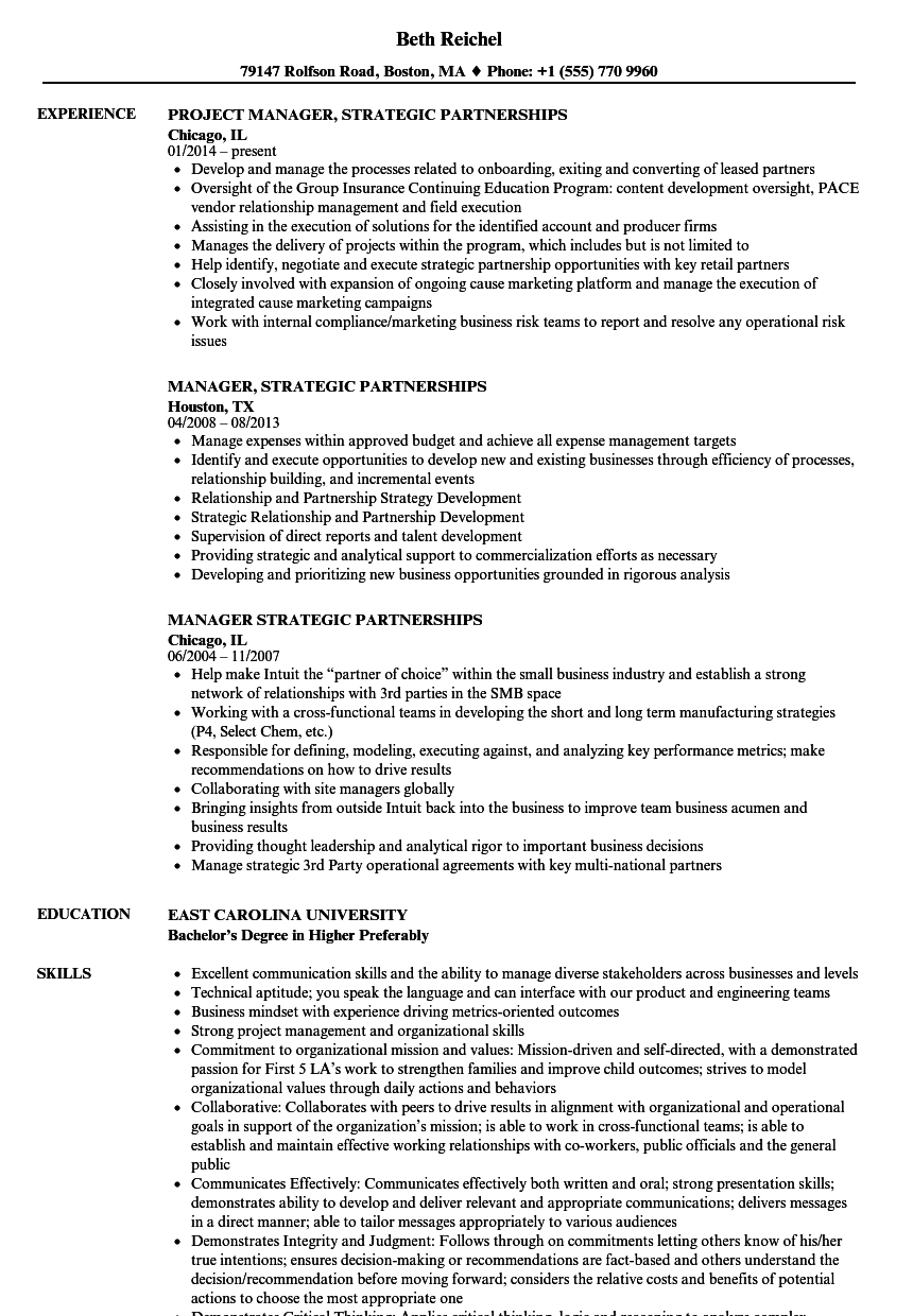 download manager strategic partnerships resume sample as image file - Resume Manager Sample