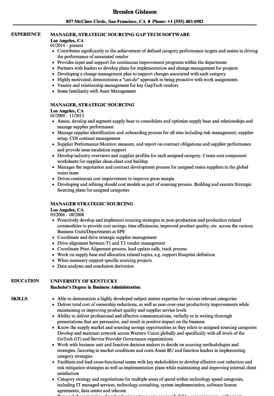 manager strategic sourcing resume sles velvet