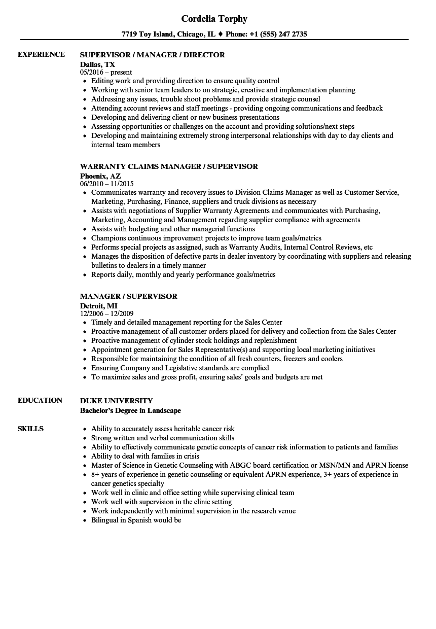Manager / Supervisor Resume Samples | Velvet Jobs