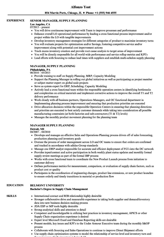 Manager, Supply Planning Resume Samples | Velvet Jobs