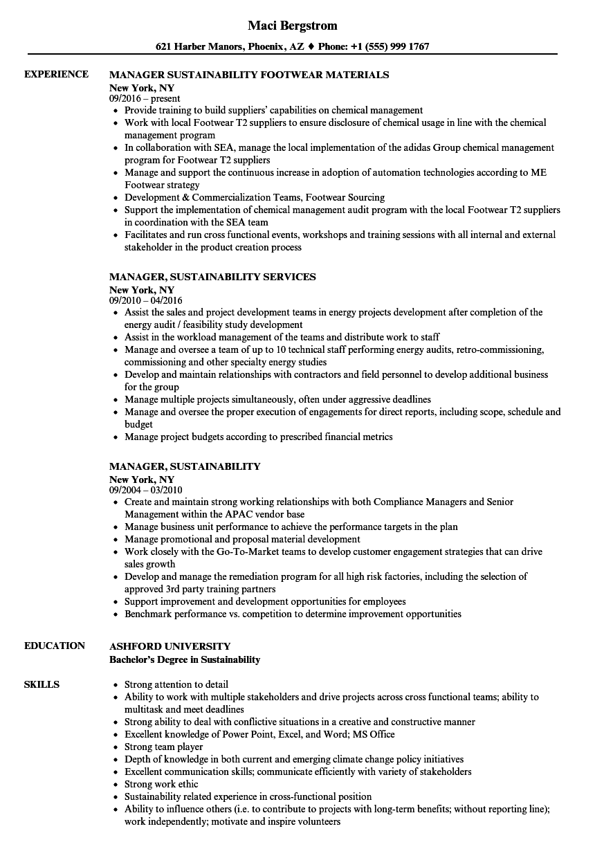 Manager, Sustainability Resume Samples | Velvet Jobs