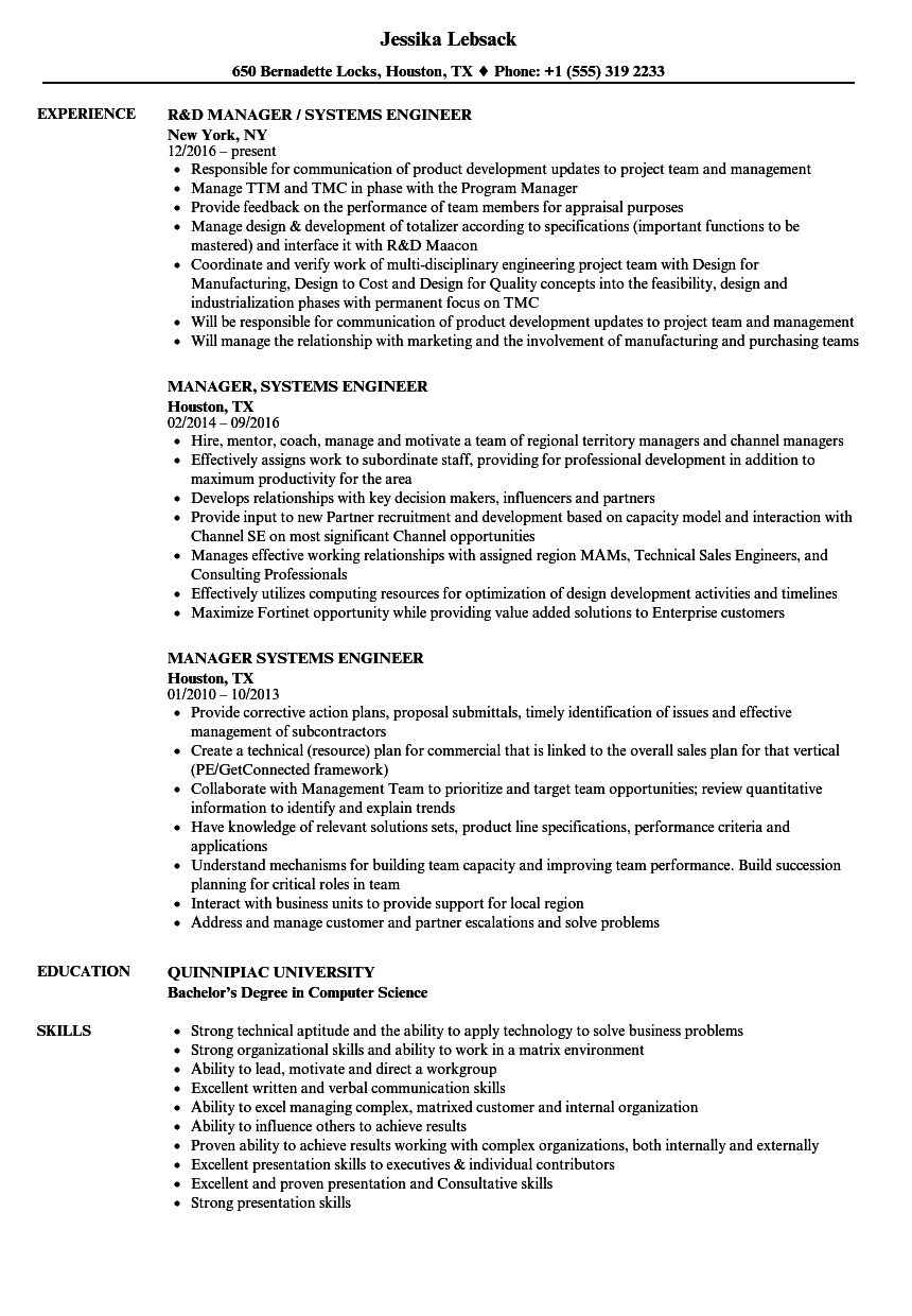 manager  systems engineer resume samples