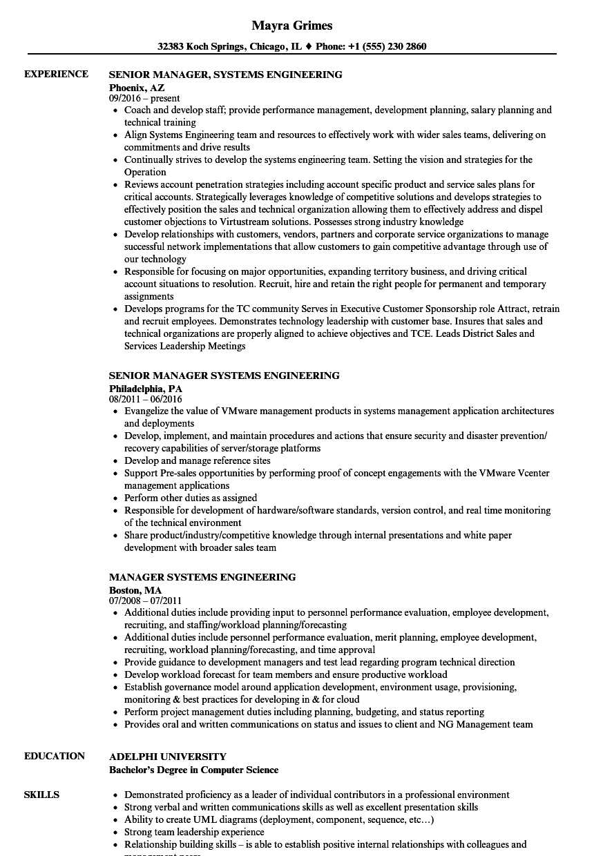 manager systems engineering resume samples