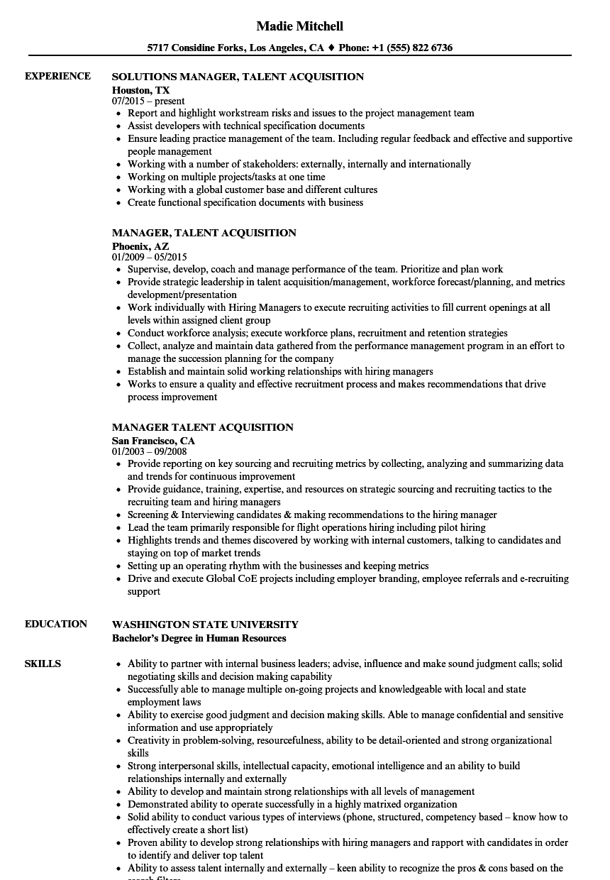 manager  talent acquisition resume samples