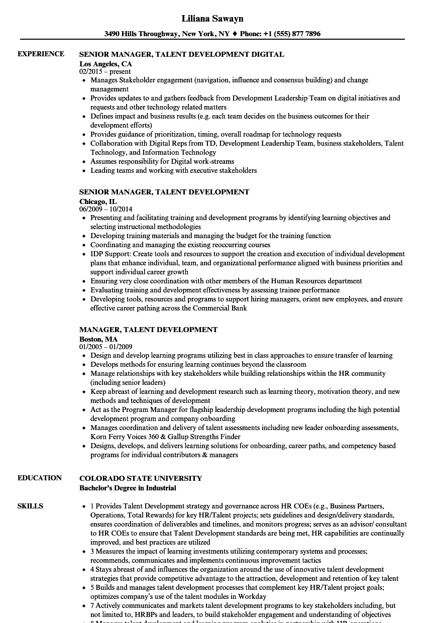 manager  talent development resume samples