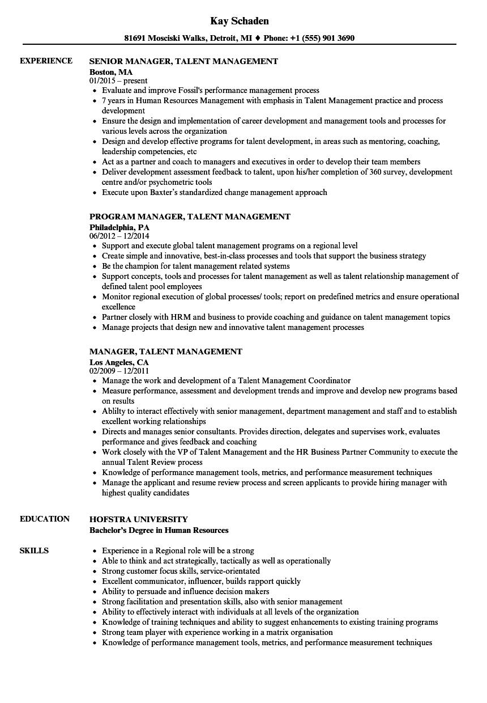 manager  talent management resume samples