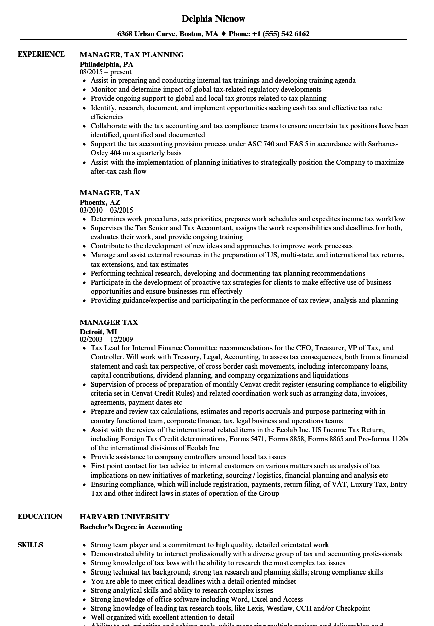 manager  tax resume samples