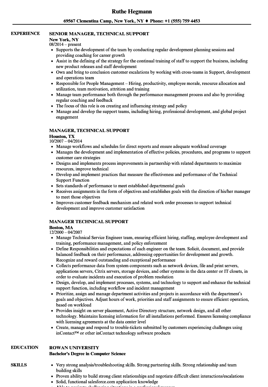 manager  technical support resume samples