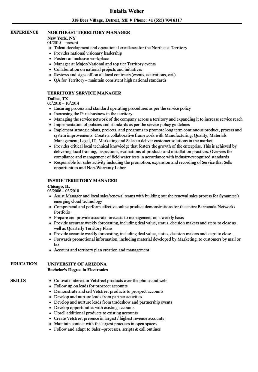Manager, Territory Resume Samples | Velvet Jobs