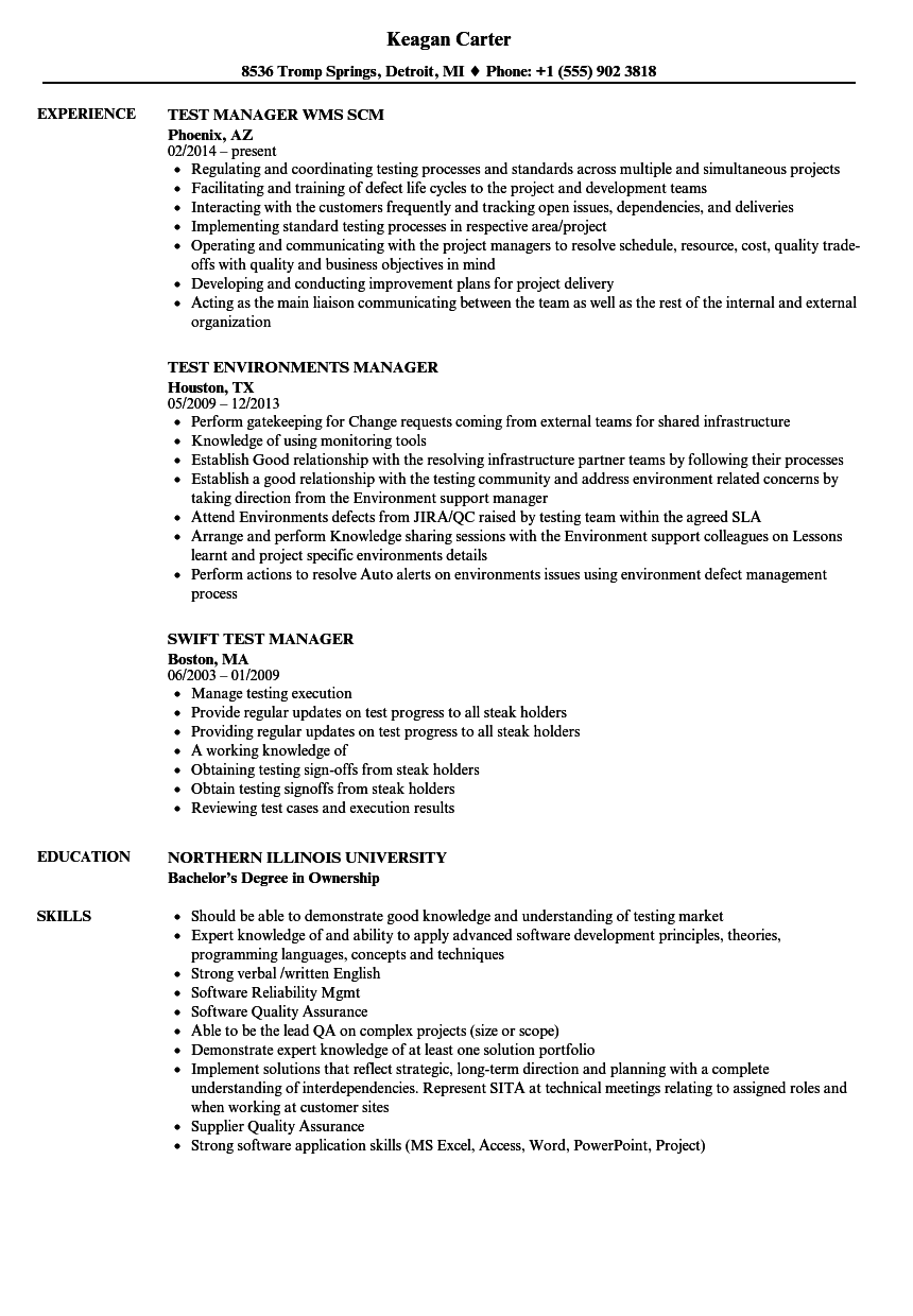 Manager Test Resume Samples Velvet Jobs