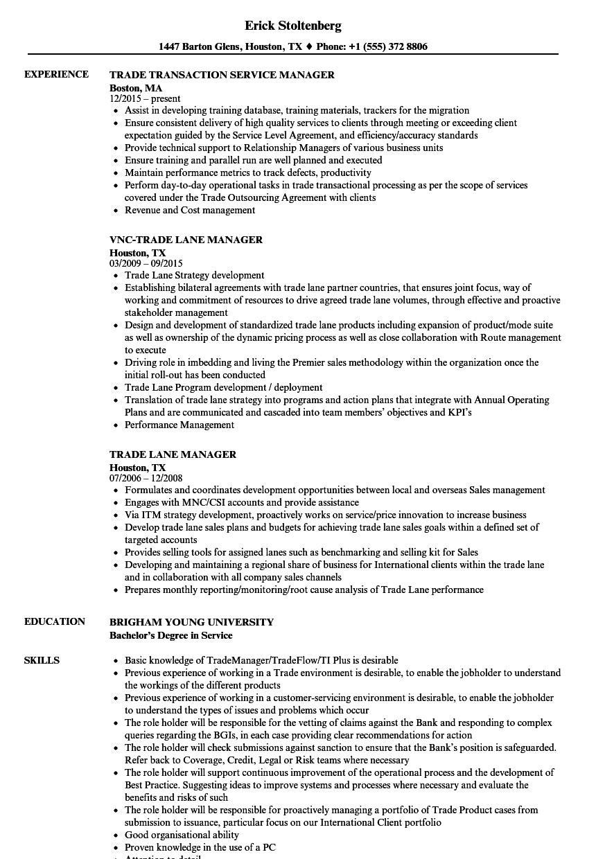 Manager Trade Resume Samples Velvet Jobs