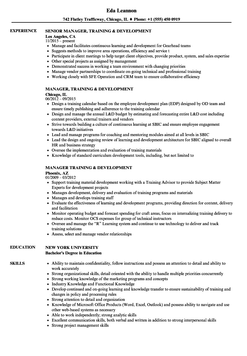 manager  training  u0026 development resume samples
