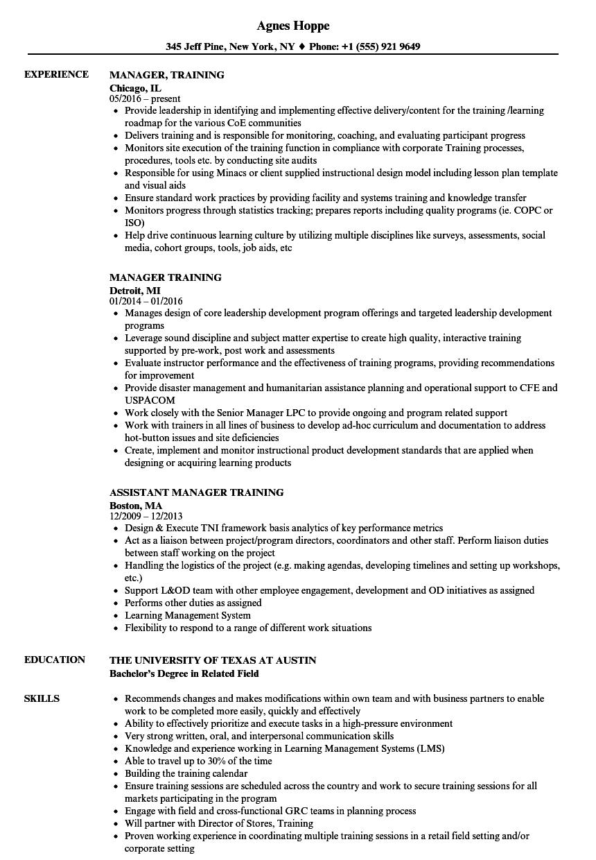Manager, Training Resume Samples | Velvet Jobs