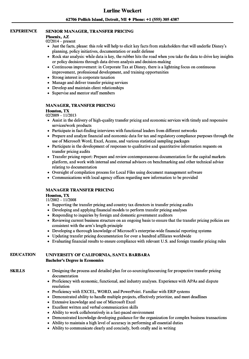 manager  transfer pricing resume samples