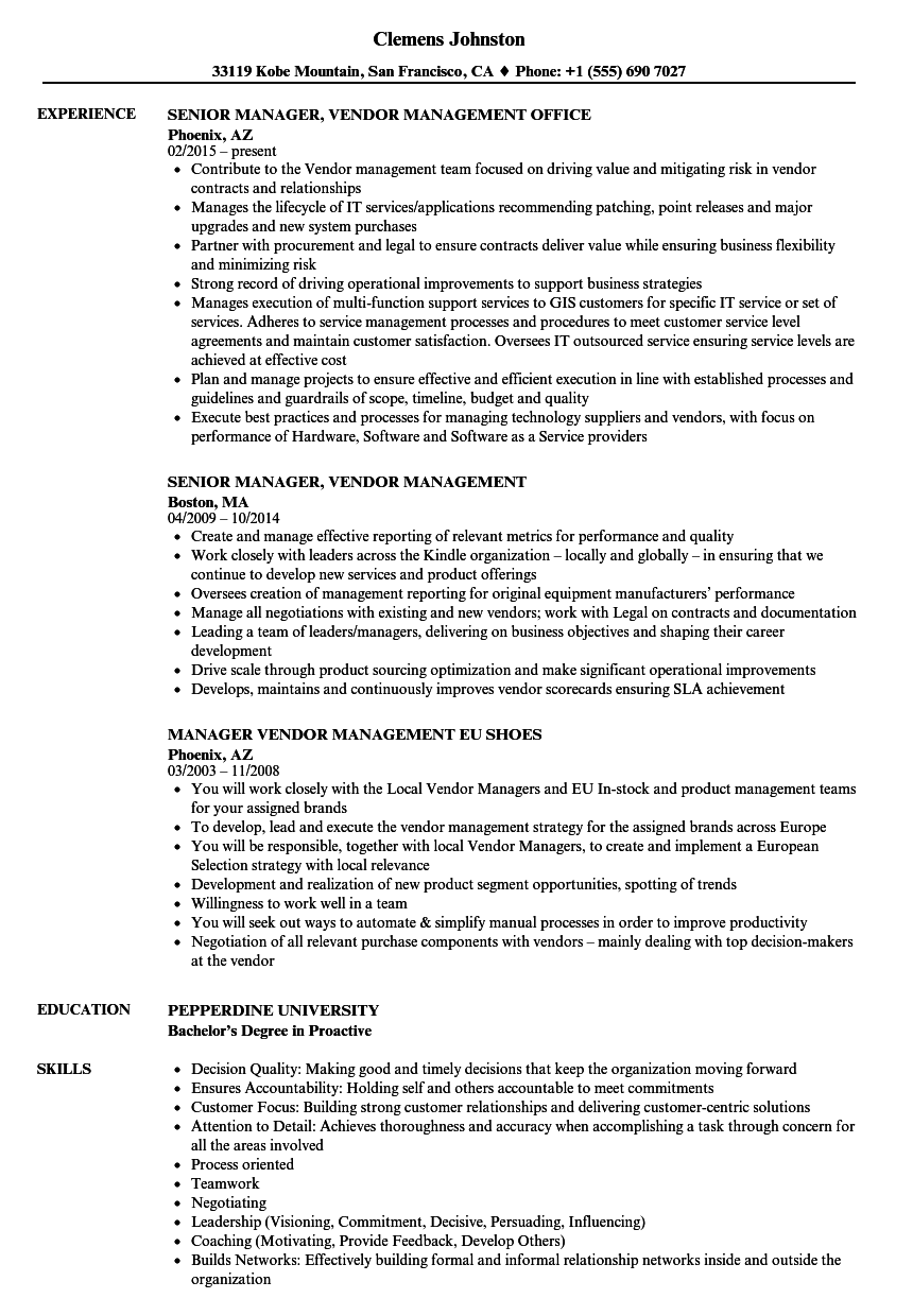manager vendor management resume samples