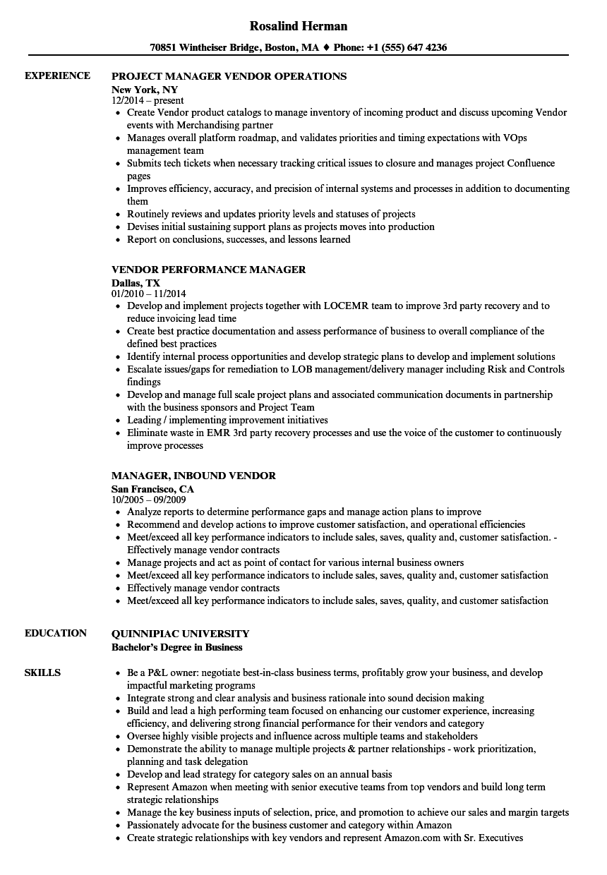 manager  vendor manager resume samples