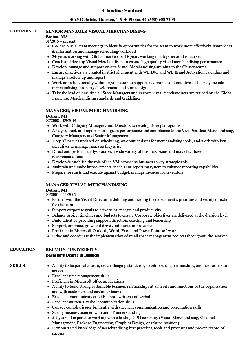 Manager Visual Merchandising Resume Samples Velvet Jobs