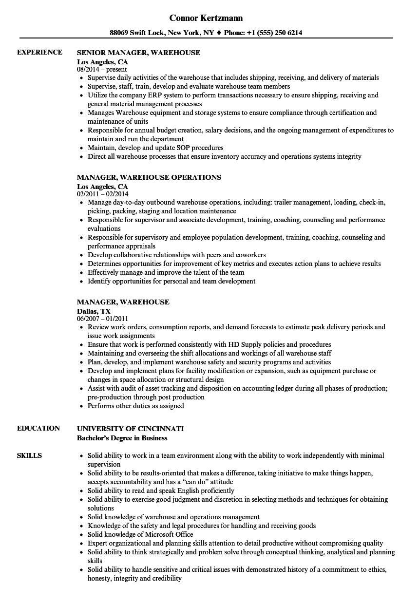 Manager  Warehouse Resume Samples   Velvet Jobs