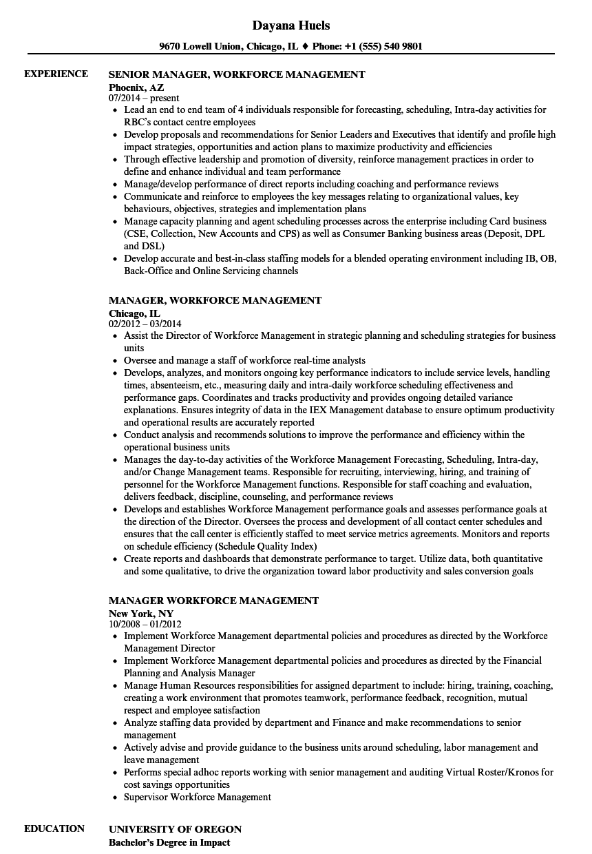 Manager, Workforce Management Resume Samples | Velvet Jobs