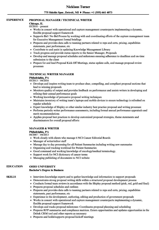 Manager & Writer Resume Samples | Velvet Jobs