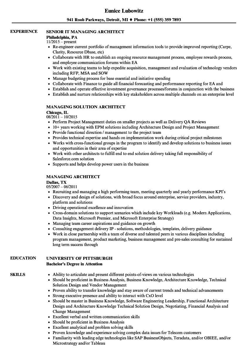 download managing architect resume sample as image file - Architect Resume Samples