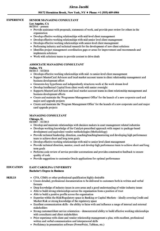 managing consultant resume sles velvet