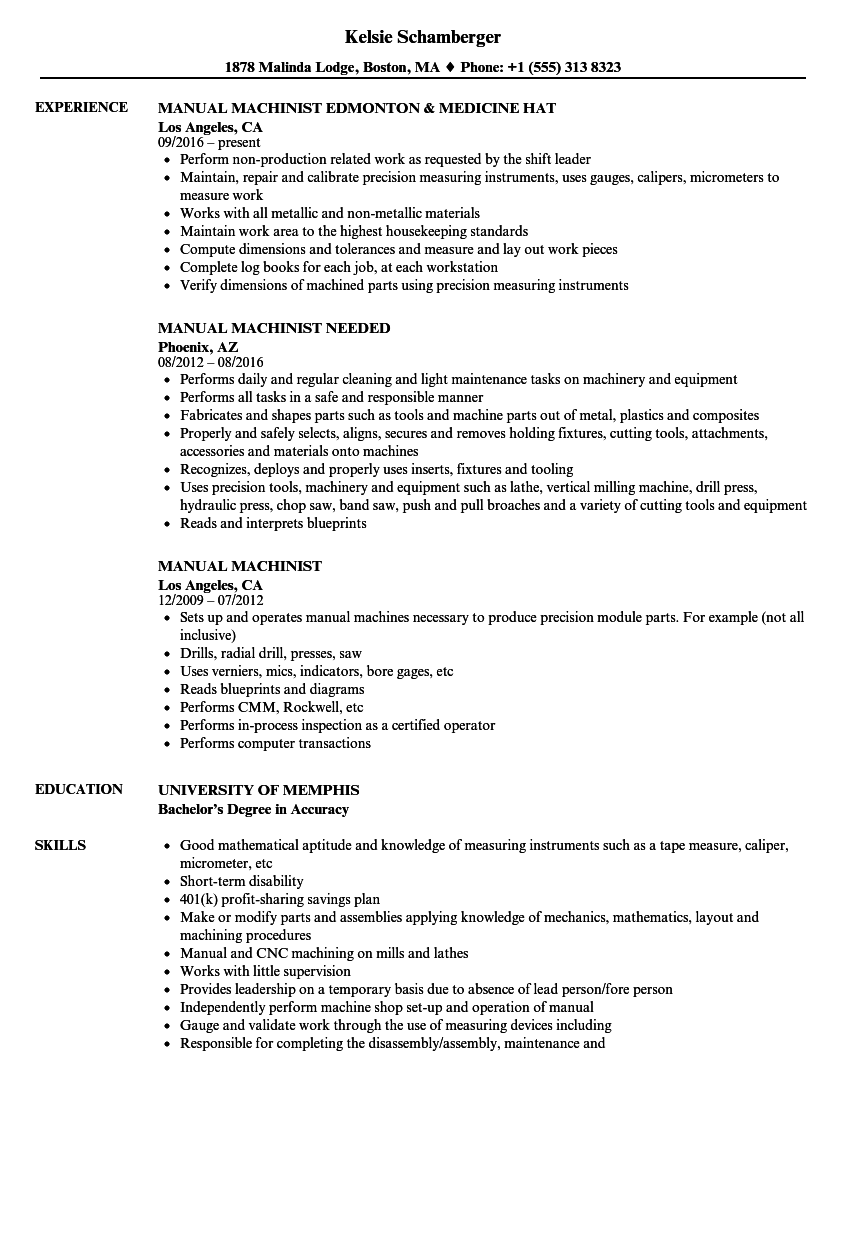 Manual Machinist Resume Samples Velvet Jobs