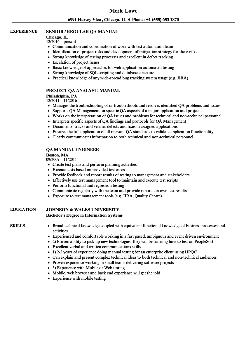 Manual Qa Resume Samples Velvet Jobs