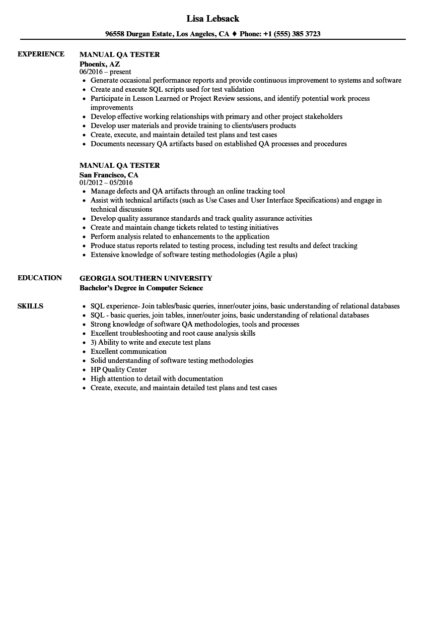 Manual Qa Tester Resume Samples Velvet Jobs