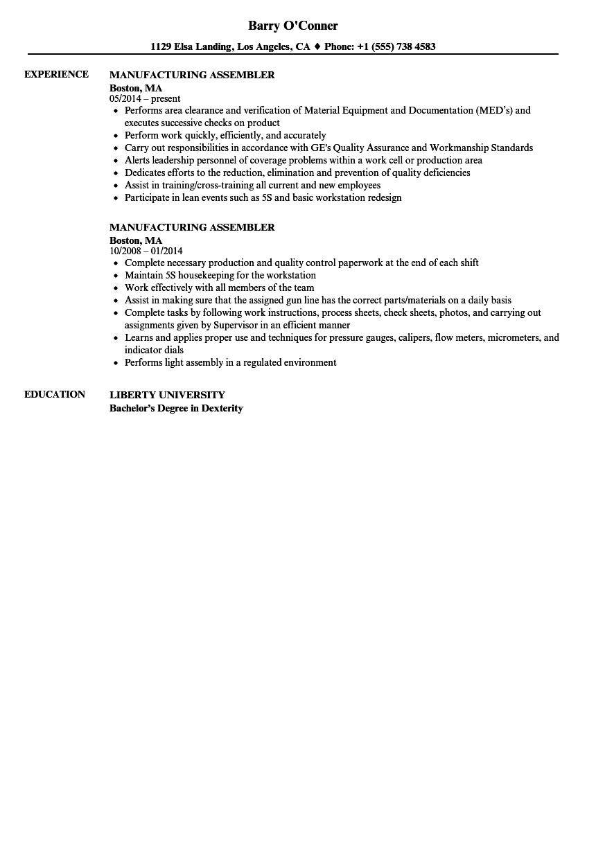 Download Manufacturing Assembler Resume Sample As Image File  Manufacturing Resume Samples