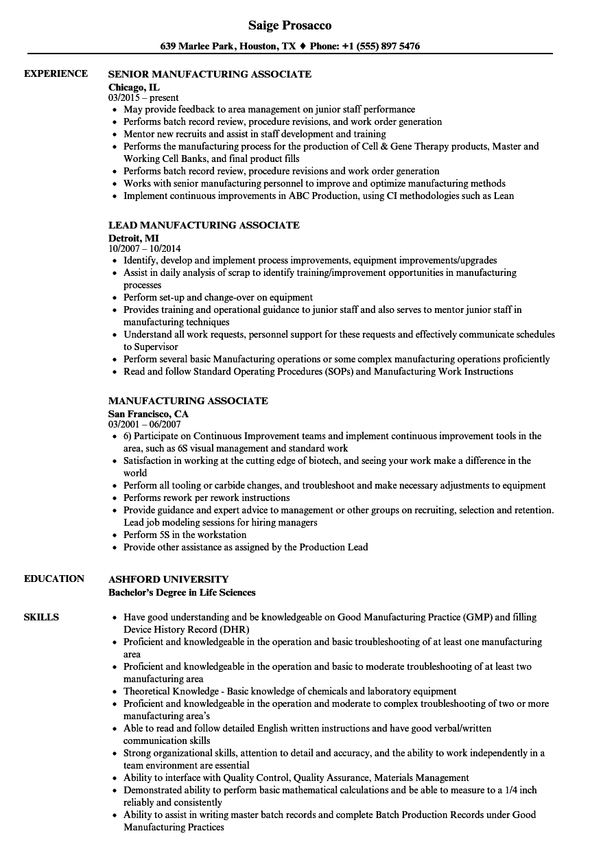 related job titles associate manufacturing engineer resume sample