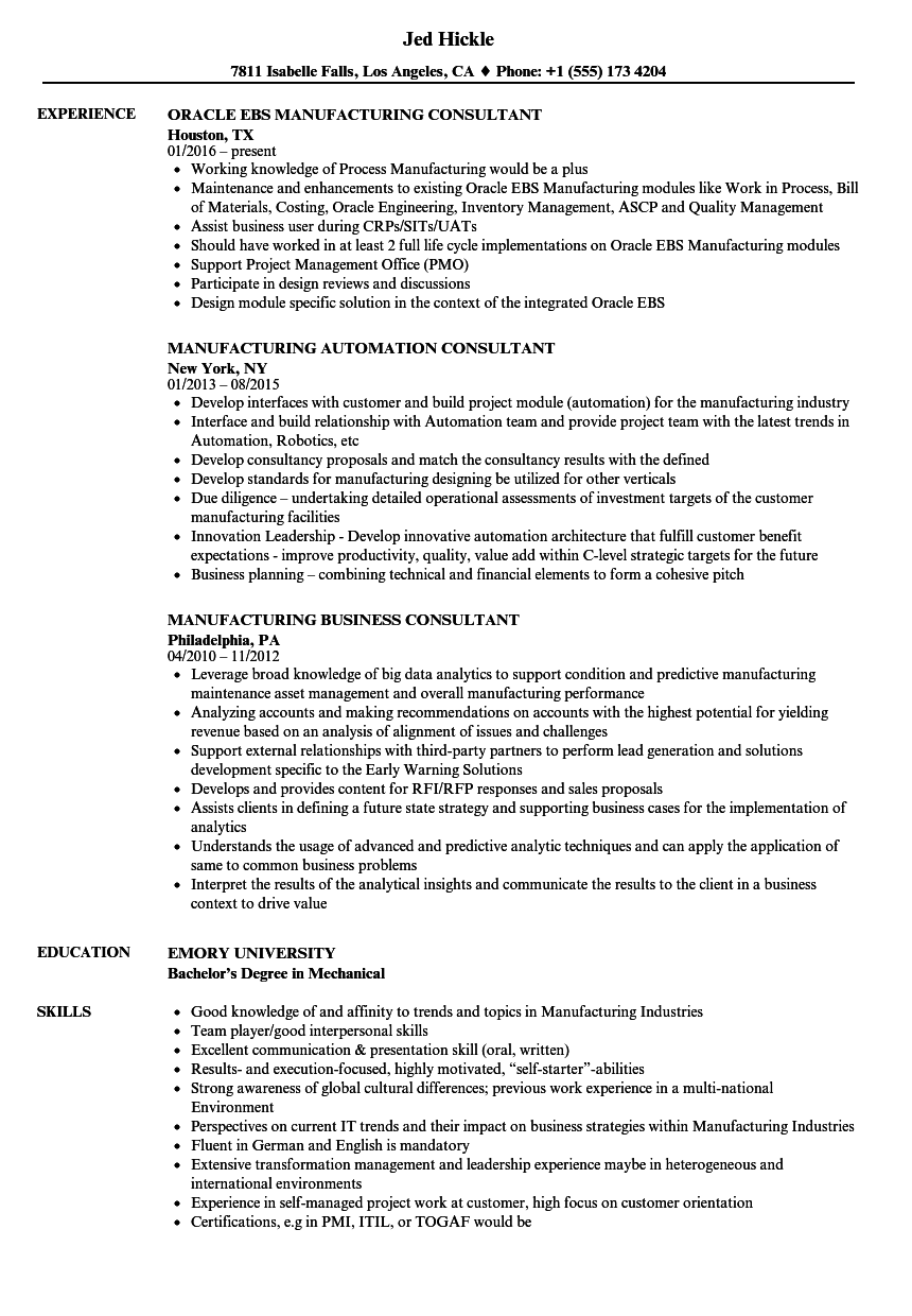manufacturing consultant resume samples