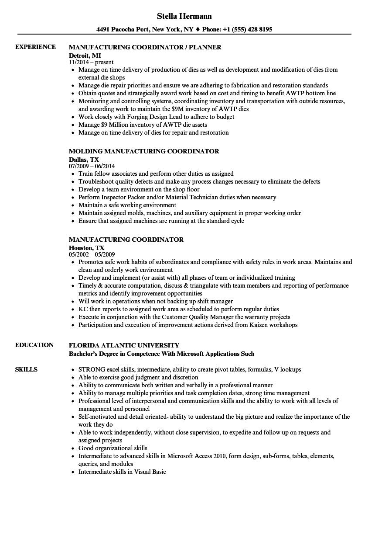 Manufacturing Coordinator Resume Samples Velvet Jobs