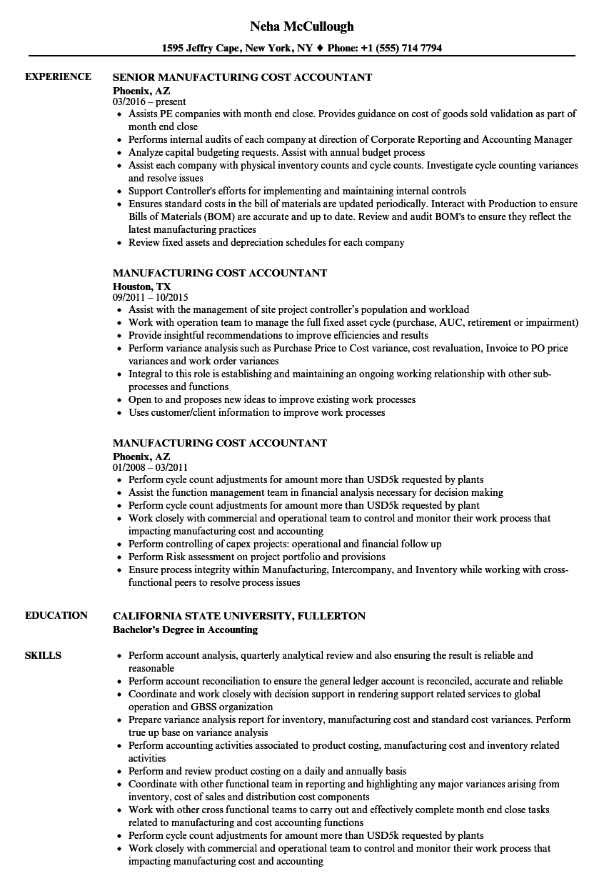 Manufacturing Cost Accountant Resume Samples | Velvet Jobs
