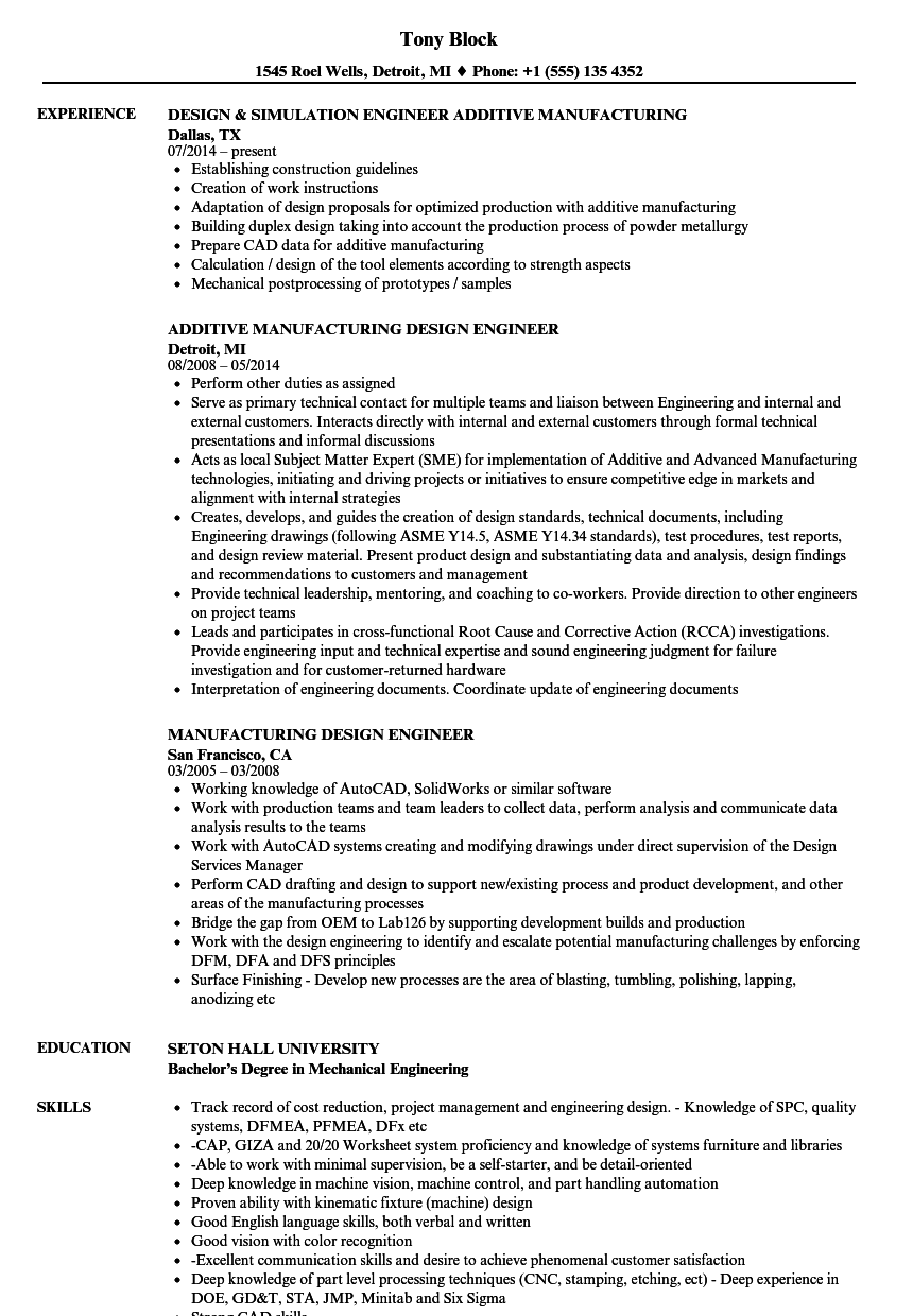 Manufacturing Design Engineer Resume Samples Velvet Jobs