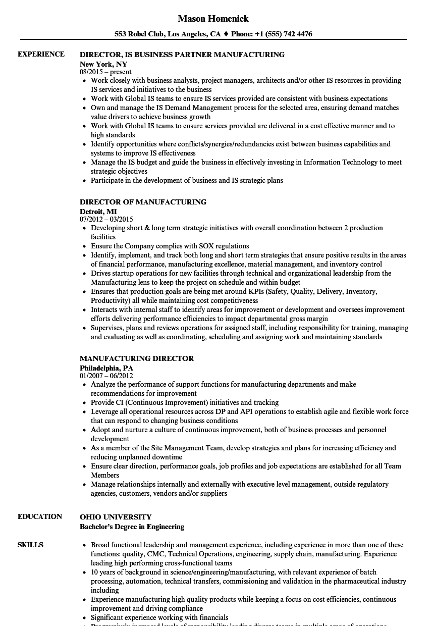 manufacturing director resume samples