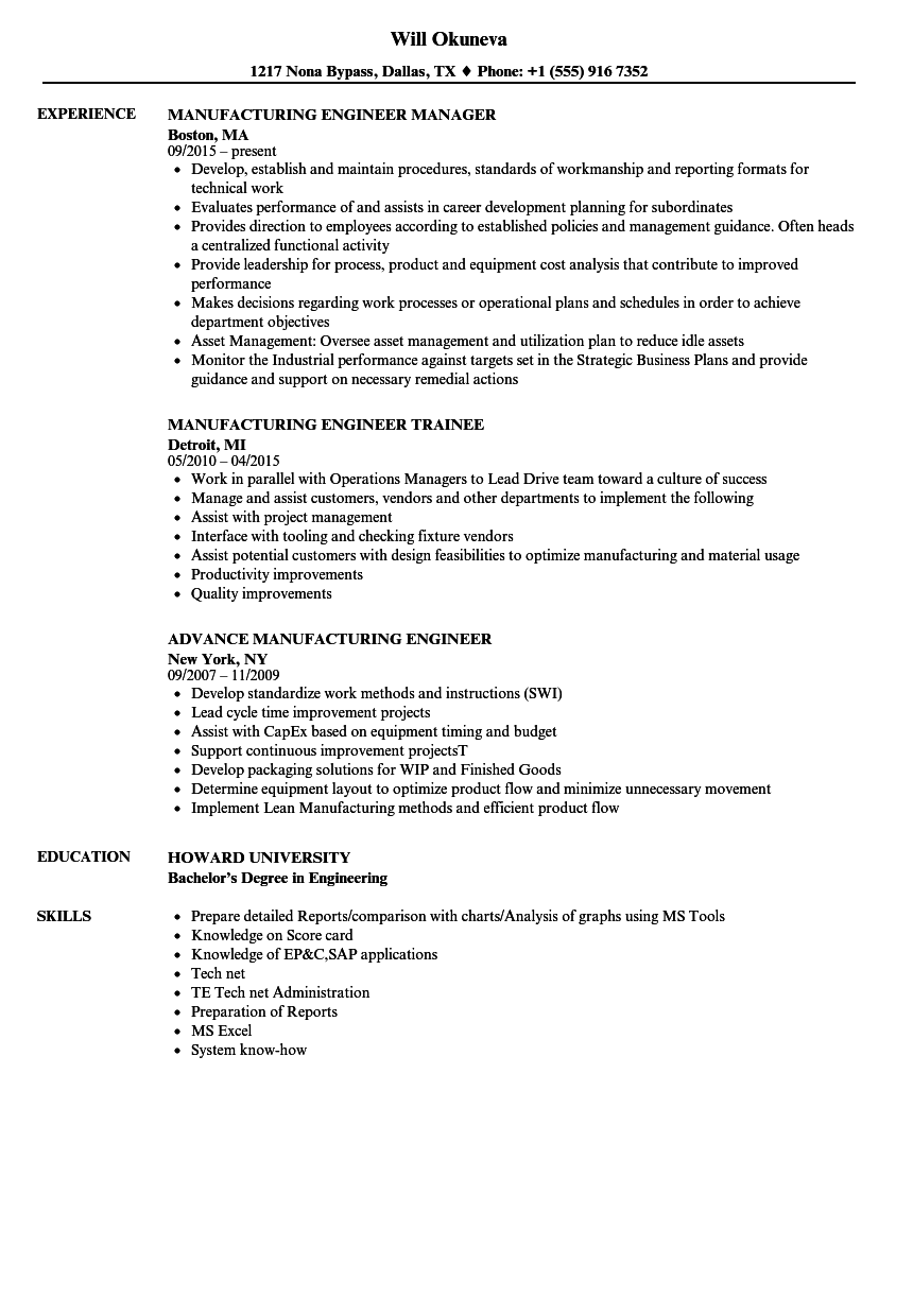 manufacturing engineer engineer resume samples velvet jobs