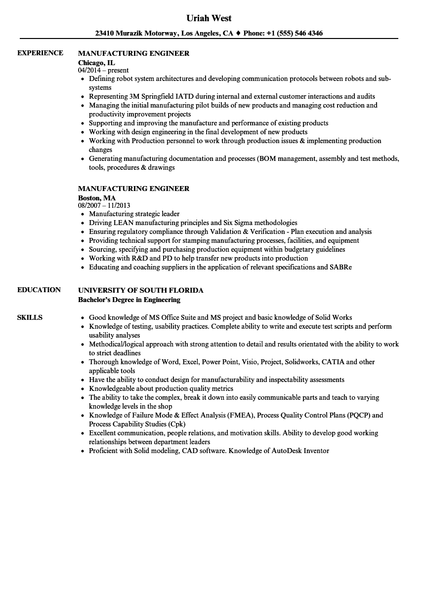 Manufacturing Engineer Resume Samples Velvet Jobs