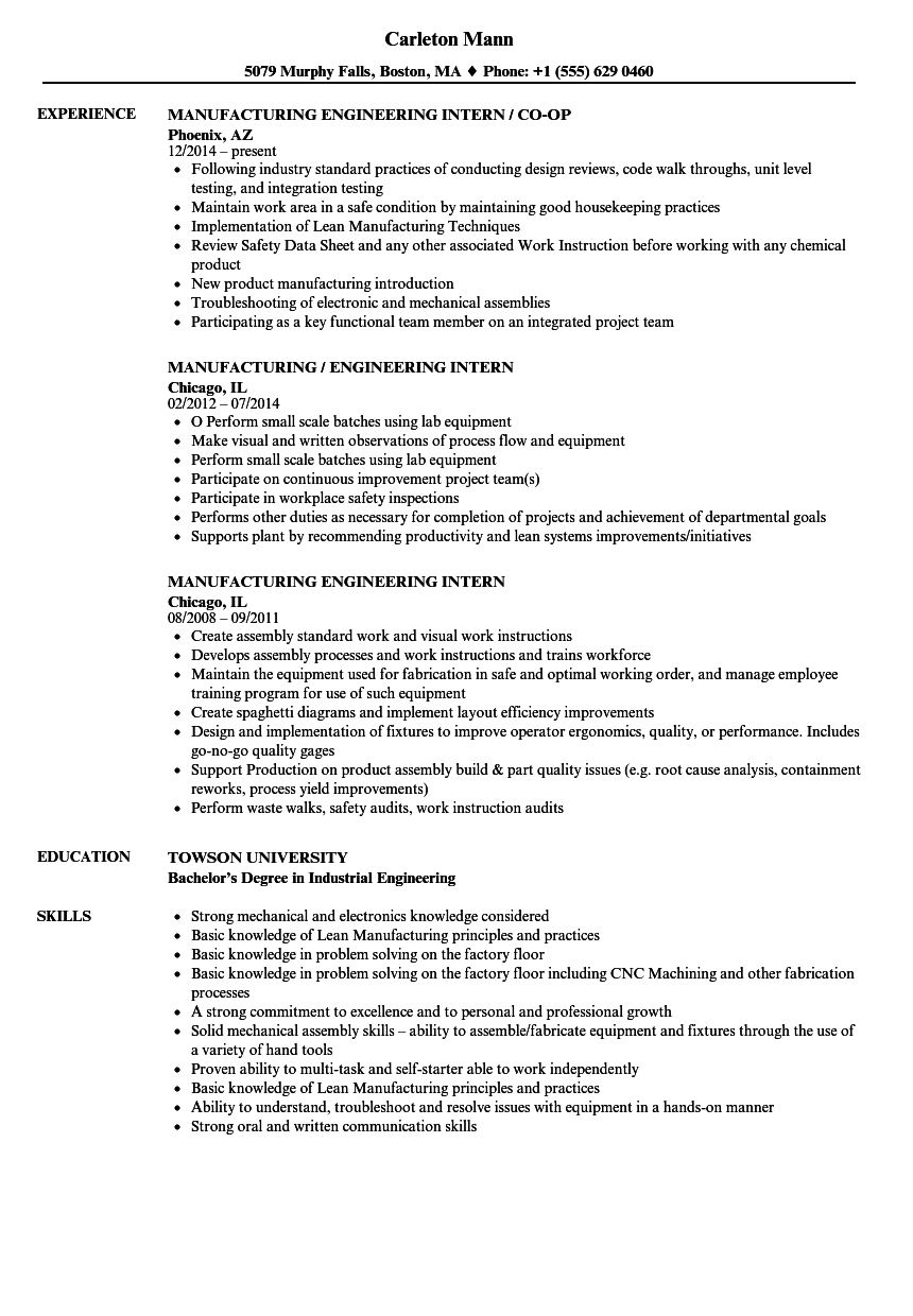 manufacturing engineering intern resume samples
